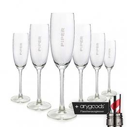 6 x Piper Heidsieck 0,1l Glas/Gläser, Markenglas, Champagnerglas NEU + anygoods Flaschenausgiesser - 1