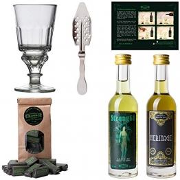 Absinth Starter Set   Komplett mit 2x original Absinth   1x Absinth Glas   1x Absinth Löffel   1x Zuckerwürfel - 1
