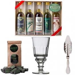 Absinth Starter Set   Komplett mit 5x original Absinth   1x Absinth Glas   1x Absinth Löffel   1x Zuckerwürfel   Auch super als Geschenk - 1