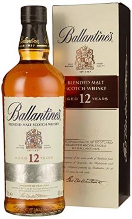 Ballantines 12 Blended Malt Scotch Whisky – 12 Jahre gereifte Komposition aus ausgewählten Malt Whiskys – Goldgelbe Farbe mit rauchig & frischem Geschmack – 1 x 0,7 L - 1