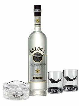 Beluga Set - Beluga Vodka 0,7l (40% Vol) + Glas Behälter + 2x Shotgläser -[Enthält Sulfite] - 1