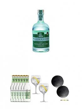 Blackwoods Vintage Dry Gin 40% 0,7 Liter + Fever Tree Elderflower Tonic Water 6 x 0,2 Liter + Spiegelau Gin & Tonic 4390179 2 Gläser + Schiefer Glasuntersetzer RUND ca. 2 x 9,5 cm Durchmesser - 1