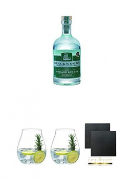 Blackwoods Vintage Dry Gin 40% 0,7 Liter + Gin Tonic Glas - 5414/67 + Gin Tonic Glas - 5414/67 + Schiefer Glasuntersetzer eckig ca. 9,5 cm Ø 2 Stück - 1