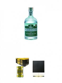 Blackwoods Vintage Dry Gin 40% 0,7 Liter + Goldberg Tonic Water DOSE 8 x 0,15 Liter Karton + Schiefer Glasuntersetzer eckig ca. 9,5 cm Durchmesser - 1