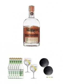Blackwoods Vintage Dry Gin 60% 0,7 Liter + Fever Tree Elderflower Tonic Water 6 x 0,2 Liter + Spiegelau Gin & Tonic 4390179 2 Gläser + Schiefer Glasuntersetzer RUND ca. 2 x 9,5 cm Durchmesser - 1