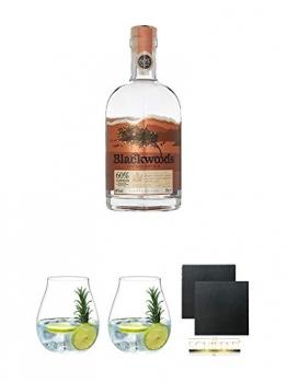 Blackwoods Vintage Dry Gin 60% 0,7 Liter + Gin Tonic Glas - 5414/67 + Gin Tonic Glas - 5414/67 + Schiefer Glasuntersetzer eckig ca. 9,5 cm Ø 2 Stück - 1