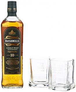 Bushmills Single Malt Irish Whiskey 10 Years Old mit Geschenkverpackung mit 2 Gläsern (1 x 0.7 l) - 1