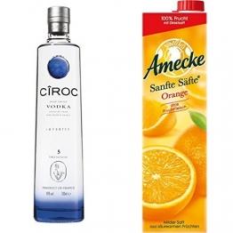 Ciroc Ultra Premium Vodka (1 x 0.7 l) mit Amecke Sanfte Säfte Orange, 6er Pack (6 x 1 l) - 1