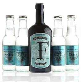 FERDINAND'S Saar Dry Gin (0,5l, 44% vol.) & 4 x FEVER TREE Mediterranen Tonic Water SET - 1