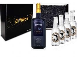 Gin Tonic Giftbox Geschenkset - Beefeater Crown Jewel 1L (50% Vol) + 4x Thomas Henry Elderflower Tonic Water 200ml inkl. Pfand MEHRWEG + Geschenkverpackung - 1