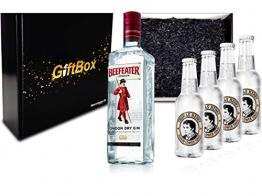 Gin Tonic Giftbox Geschenkset - Beefeater Dry Gin 0,7l 700ml (47% Vol) + 4x Thomas Henry Elderflower Tonic Water 200ml inkl. Pfand MEHRWEG + Geschenkverpackung - 1