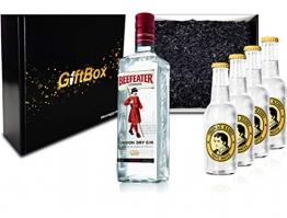 Gin Tonic Giftbox Geschenkset - Beefeater Dry Gin 0,7l 700ml (47% Vol) + 4x Thomas Henry Tonic Water 200ml inkl. Pfand MEHRWEG + Geschenkverpackung - 1