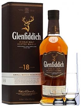 Glenfiddich 18 Jahre neue Ausstattung Single Malt Whisky 0,7 Liter + 2 Glencairn Gläser und Einwegpipette - 1