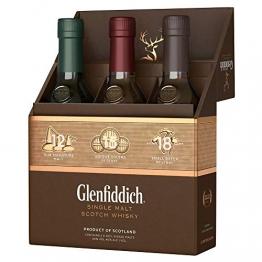 Glenfiddich Single Malt Scotch Whisky Collection Mix Pack (3 x 0,2 l) - 12 Jahre, 15 Jahre und 18 Jahre mit Geschenkverpackung - 1