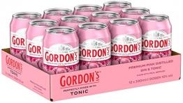 Gordon's Premium Pink Distilled Gin & Tonic Water Mix-Getränk, EINWEG (12 x 330ml) - 1