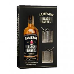 Jameson Whiskey BLACK BARREL Triple Distilled Irish Whiskey 40% Volume 0,7l in Geschenkbox mit 2 Gläsern Whisky - 1