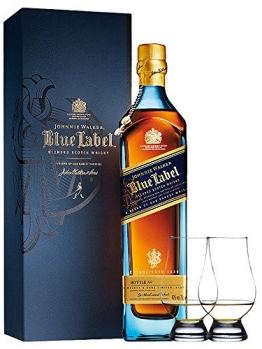 Johnnie Walker Blue Label Blended Scotch Whisky 0,7 Liter + 2 Glencairn Gläser - 1
