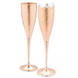Kupfer-Champagnerflöten à 200 ml - 2-fach gehämmerte Kupfer-Champagnergläser - Jedes ist handgefertigt und lackiert, um Anlaufen zu vermeiden. - 1