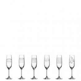 Leonardo Casella Sekt-Gläser 6er Set, Prosecco-Glas mit Mustern, spülmaschinengeeignete Sektkelche, stoßfeste Champagner-Gläser, 190 ml, 061798 - 1