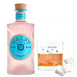 Malfy Gin Rosa mit graviertem Tumblerglas, italienischer Gin mit Wacholder, Alkohol, Schnaps, Flasche, 41%, 700 ml - 1