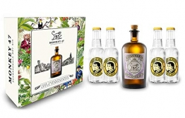 Monkey 47 Gin Geschenkset - Monkey 47 Schwarzwald Dry Gin 500ml (47% Vol) + 4x Thomas Henry Tonic Water 200ml - Inkl. Pfand MEHRWEG - 1