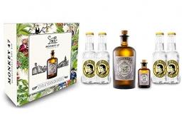 Monkey 47 Gin Tonic Set/Geschenkset - Monkey 47 Schwarzwald Dry Gin 500ml + 50ml(47% Vol) + 4x Thomas Henry Tonic Water 200ml - Inkl. Pfand MEHRWEG - 1