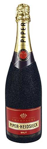 Piper-Heidsieck Brut Champagner 0,75l (12% Vol) Bling Bling Glitzerflasche in schwarz -[Enthält Sulfite] - 1
