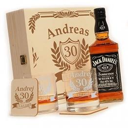 polar-effekt Whisky Geschenkset - 6-Teilig - Deutsche Herstellung - Jack Daniels No.7 Flasche - 2 Untersetzer - 2 Whiskygläser - personalisiert Motiv: Jubiläum - 1