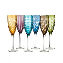 Pols Potten - Sektgläserset mit Schliff Mulitcolor - 6er Set - Schaumweingläser in 6 verschiedenen Farben, 6 verschiedenen Schliffen - spülmaschinengeeignete Champagnergläser - 1
