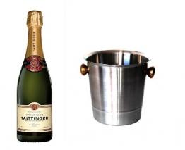 Taittinger Champagner Brut Réserve im Champagner Kühler 12% 0,75l Flasche - 1
