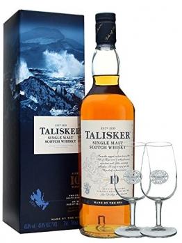 Talisker 10 Jahre Single Malt Whisky 0,7 Liter + 2 Classic Malt Gläser - 1
