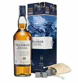 Talisker 10YO mit Whisky Steinen Single Malt Whisky (1 x Giftpack) - 1