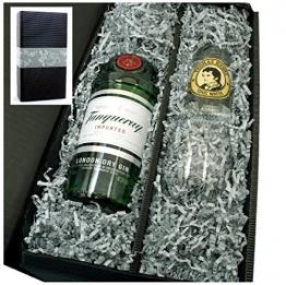 Tanqueray Gin 47% 0,7l Geschenkkarton mit Glas und Thomas Henry Tonic Water 0,2l - 1
