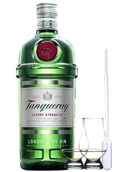 Tanqueray London Dry Gin 1,0 Liter + 2 Glencairn Gläser und Einwegpipette - 1