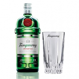 Tanqueray London Dry Gin Imported Set mit Bar Glas, Alkohol, Flasche, 47.3%, 1 L - 1