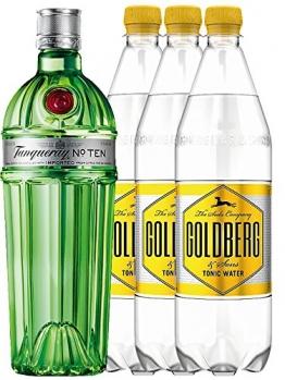 Tanqueray No.10 Ten Gin 0,7 Liter + 3 x Goldberg Tonic 1,0 Liter - 1