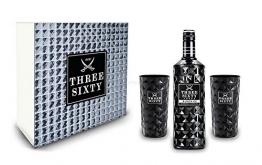 Three Sixty Geschenkset - Three Sixty Black Vodka Wodka 0,7L 700ml (42% Vol) + 2x Black Gläser Longdrinkgläser Glas 300ml aus rein weißem Brillanz-Glas Bar Cocktail - [Enthält Sulfite] - 1