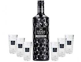 Three Sixty Set Geschenkset ? Three Sixty Black Vodka Wodka 0,7L 700ml (42% Vol) + 6x Shotgläser Glas 2 und 4cl geeicht- [Enthält Sulfite] - 1