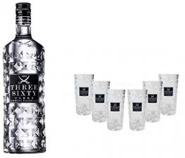 Three Sixty Set Geschenkset ? Three Sixty Vodka Wodka 700ml (37,5% Vol) + 6x Shotgläser Glas 2 und 4cl geeicht- [Enthält Sulfite] - 1