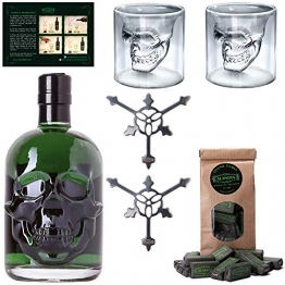 Totenkopf Absinth Set   1x Hamlet Classic Green Absinth   2x Skull Absinth Gläser   2x Absinth Löffel   1x Zuckerwürfel - 1